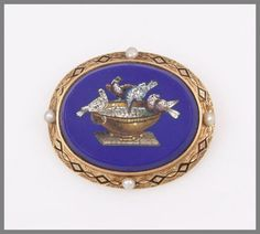 Victorian 14k Gold, Enamel, Pearl And Micro Mosaic Brooch, Doves of Pliny