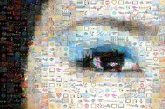Iris | Artist Delphimages via Modern Mural #eye #collage #portrait #face #wallart