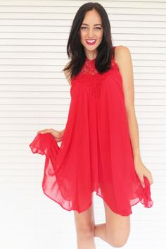 Scarlet Trapeze Dress in Red