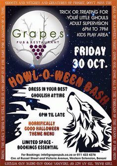 Join us for our Halloween Party on Friday. We will be having a trick or treat for the kids between 6pm - 7pm and Dave Abbott will be performing so we can party the night away. and its definitely a dress up so get your imaginations working! See you there...Please contact us on 0114224276 to book your table as they are going fast...
