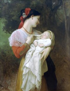 Maternal Admiration (1869) by William-Adolphe Bouguereau (French, 1825-1905)