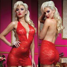 Роскошное Мини-Платье из Кружева с Трусиками - OS, красный