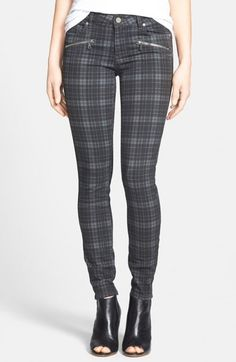Paige Denim Indio Zip Detail Ultra Skinny Jeans Charcoal Canterbury Plaid Nordstrom Exclusive Women's 32