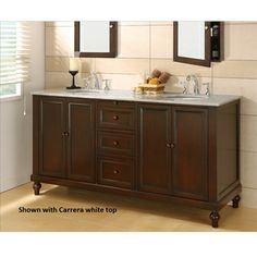 Best Deal   Direct Vanity Classic Double Bathroom Vanity Sink And Cabinet  With White Carrera Marble Top