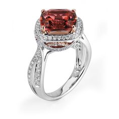 Brides.com: Engagement Rings with Colored Stones. Style 139366, 18K white and rose gold with 4.67 carat pink tourmaline and 0.58 carats of diamonds, $5,450, Supreme Jewelry                                                                                                               See more round-cut engagement rings.