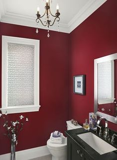 Let's do your bathroom Red Bathroom Paint Color - © Behr; courtesy Behr Process Corporatiion