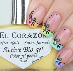 Gradient, red, yellow, green, blue, purple, several colors, pattern, french manicure, long nails, advanced