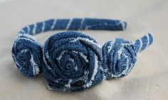 denim rosette headband tut