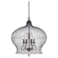 Pendant with cascading beaded accents and a wire birdcage-inspired shade.  Product: PendantConstruction Material:
