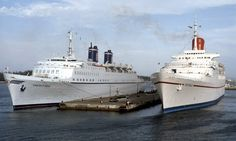 Two beautiful liners destined to be scrapped in Alang, India. The Emerald Seas with the Festivale (launched as RMS Transvaal Castle to sail Southampton to Durban).