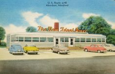 The New Ideal Diner, Aberdeen Maryland circa 1950 1950 Diner, Vintage Diner, Aberdeen Maryland, Diner Booth, Vinyl Collectors, The Jetsons, Drive In Theater, Soda Fountain, Googie
