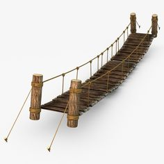 Rope & Wood Plank Suspension Bridge Model available on Turbo Squid, the world's leading provider of digital models for visualization, films, television, and games.