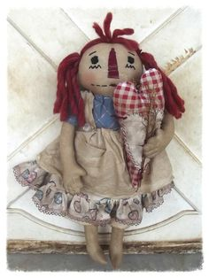 Primitive Annie doll with Prim Heart by reddirtprimitives on Etsy, $35.49