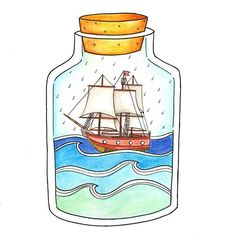 Tempesta #illustration #glassjar #ship #sea #raining #veliero #design #graphicdesign #drawing #draw #pencil #pencildrawing #watercolor #art #artsy #artoftheday #gallery #fantasy #picame