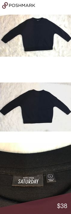 "Kate Spade Saturday Neoprene Crewneck Sweatshirt Kate Spade Neoprene Crewneck Pullover in Black  Excellent condition - looks and feels almost like new  This would be super cute with black leggings and cute gym shoes for a sporty/classy monochromatic look.   Size Large 23"" long 24.5"" pit to pit kate spade Sweaters Crew & Scoop Necks"