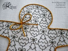 Blackwork gingerbread man with bow