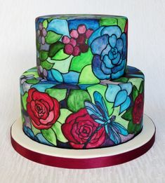 Tiffany Style Stained Class Cake - by pambakescakes @ CakesDecor.com - cake decorating website