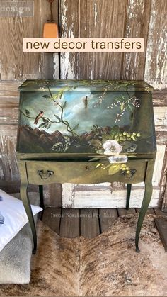 Funky Painted Furniture, Decoupage Furniture, Refurbished Furniture, Paint Furniture, Upcycled Furniture, Furniture Projects, Furniture Makeover, Refurbished Bookcase, Furniture Painting Techniques