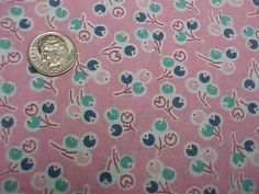 BEST Vintage Feedsack Quilt Fabric Deco Tulips on PINK 1940s WWII Era Flour Sack