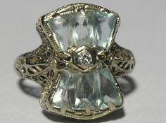 ANTIQUE Diamond and Aquamarine Filigree Ring 14kt White Gold
