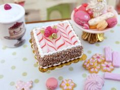 French Raspberry Square Gateau - French Miniature Food in 12th Scale