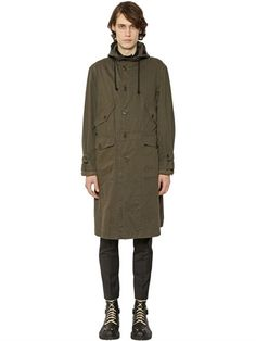 DRIES VAN NOTEN Back Print Cotton Drill Long Parka Coat, Khaki. #driesvannoten #cloth #coats