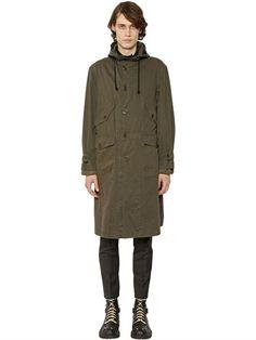 DRIES VAN NOTEN Back Print Cotton Drill Long Parka Coat, Khaki. #driesvannoten #cloth #coats