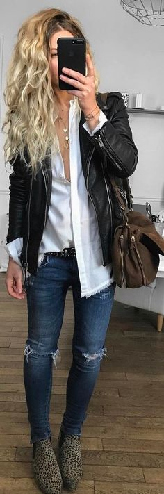 casual style outfit with a biker jacket