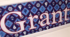 Nautical Sail Boat Nursery Wall Art - Baby Boy - Name Frame This clean and crisp nautical background has sailboats, anchors, and a ships Baby Wall Art, Nursery Wall Art, Nautical Background, Boat Theme, Name Frame, Nautical Nursery, Sailboats, Boy Names, Anchors