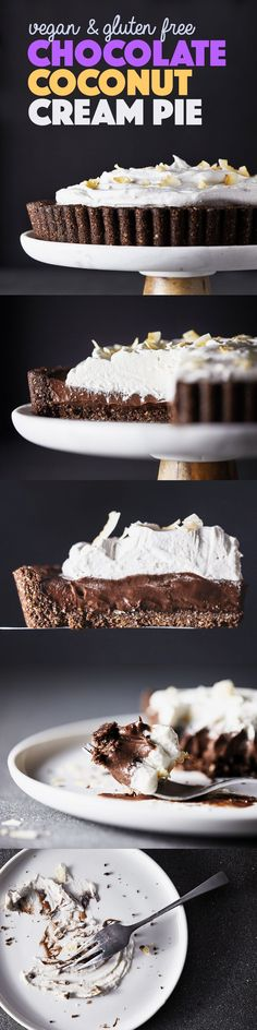 This pie is what dreams are made of. A chocolate hazelnut crust filled with creamy chocolate and topped with fluffy coconut whipped cream. No dairy or flour, and no refined sugar! Vegan & Gluten Free.