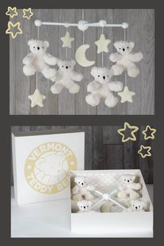 For young Cubs, bedtime is a dream come true with dancing Bears gently swaying overhead. Made with a quartet of floppy Bears and fleece stars and moon, this captivating wooden Bear Mobile promises to enchant little ones when they're winding down and ju Baby Decor, Nursery Decor, Vermont Teddy Bears, Bear Nursery, Unique Baby Gifts, Gifts For New Moms, Soft Blankets, Nursery Inspiration, Baby Time