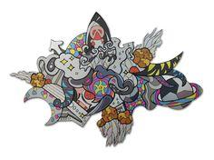 Grafidoodle Espaço 3. Painel impresso e recortado em ACM (Aluminio Composto), misturando os estilos grafite e dooodle.