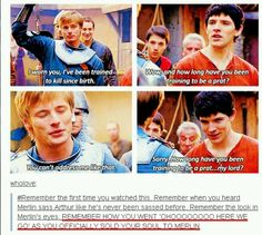 THE ACCURACY OF THAT (and I am secretly laughing hysterically at their facial expressions in the last two pictures... what are you doing? Arthur looks like he is asleep and Merlin looks like he is trying to seduce him!)