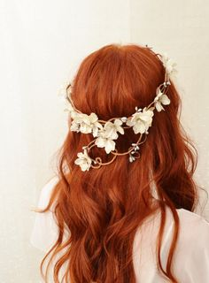 Wreath, Ivory flower head piece, bridal crown, whimsical hairband, wedding accessories - Diana. $70.00, via Etsy.