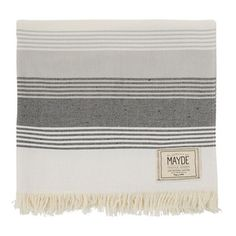 JERVIS TOWEL - WHITE / BLACK 100% Cotton Black/Charcoal/Grey Stripes on white ground. One sided terry; Pre washed with key pocket