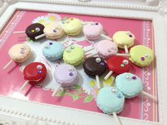 Miniature Food - Lolly Pop macaroon mix colors - 5pcs Mix Colors For Deco Charms jewelry - LOT106