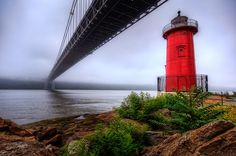 The George Washington Bridge and the Little Red Lighthouse. I biked this. Fort Washington Park, Washington Heights, George Washington Bridge, Little Red Lighthouse, Manhattan Neighborhoods, Long Island Sound, New York Harbor, Walking Paths, Hill Park