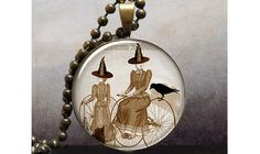 Bicycle Witch Halloween pendant, Hallowen jewelry resin pendant, Halloween necklace charm on Etsy, $9.25