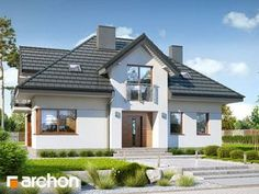 Dom w śliwach 2 Home Design Plans, Home Fashion, Planer, House Plans, Exterior, How To Plan, Mansions, Architecture, House Styles