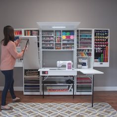 Latest Absolutely Free sewing table hideaway Strategies A dream workstation for any seamstress or crafter! Open up this beautiful cabinet to reveal over 2 Sewing Table, Sewing Box, Free Sewing, Craft Room Storage, Room Organization, Organizing Life, Paper Storage, Storage Ideas, Custom Crates