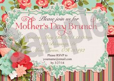 Mother's Day Brunch Printable Invitation a stunning invitation to use for Mother's Day this year. Whether you are celebrating at brunch or another time you can use this invitation to invite all the special moms in your life.