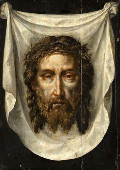 Holy Face of Jesus Christ Veil Of Veronica, St Veronica, Jesus Christ Images, Jesus Painting, Jesus Face, Les Religions, Sacred Art, Christian Art, Jesus Christ