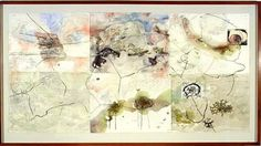 John Wolseley The colonizing of lichens in Tasmania and Valdivia, watercolour on paper; 114 x cm Painting & Drawing, Watercolor Paintings, Abstract Paintings, Art Paintings, Landscape Art, Landscape Paintings, Notan Design, Nature Sketch, Environmental Art