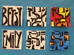 Art Sub Lessons: Middle School Art Sub Idea - Abstract Name Designs. Art Sub Plans, Art Lesson Plans, Middle School Art Projects, Art School, Club D'art, Name Art Projects, Drawing Projects, Design Projects, Art Sub Lessons