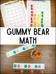 These gummy bear math printables will help your kids learn sorting, patterns, graphing, and counting! Free printables, all you need are gummy bears.