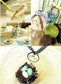 Bird nest chocolate haystacks for favors.  Springy party theme.