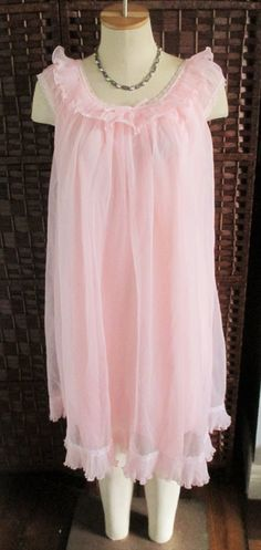 Vibrant Pink Double Layer Chiffon Over Nylon Nightgown By Dorsay Montex Crystal Pleats Lace Size Medium by GwensHaberdashery on Etsy