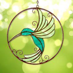 "Whimsical stained glass Hummingbird suncatcher - 8"" round"
