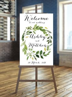 Printable Wedding Sign Greenery Welcome Sign by instanttrends