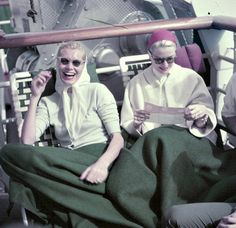 Grace Kelly and her sister Peggy en route to Monaco, photo Walter Carone, April 1956.